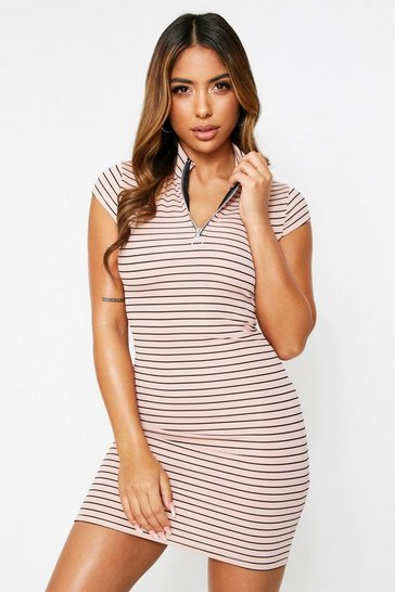 Stone High neck stripe mini dress