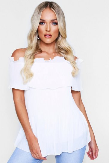 Womens White Pleated Bardot Top