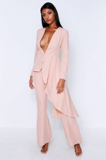 Womens Nude Plunge Front Asymmetric Blazer