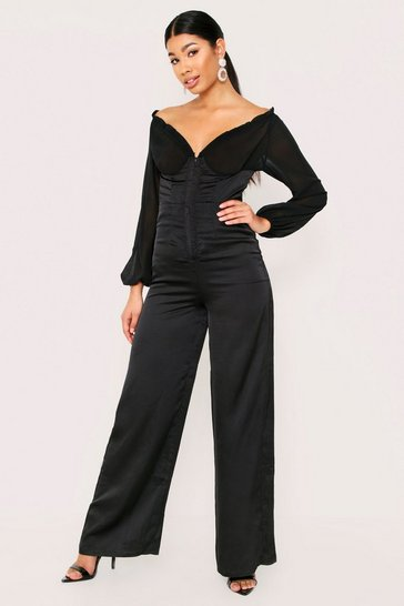Womens Black Satin Shirred Bardot Jumpsuit