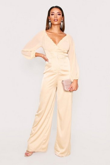 Womens Champagne Satin Shirred Bardot Jumpsuit