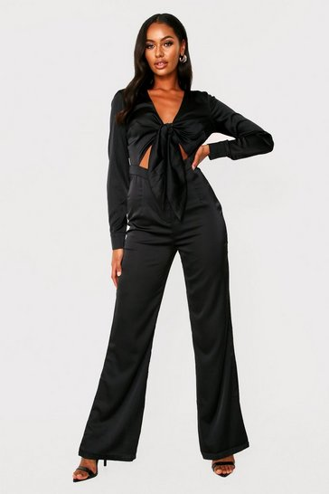Womens Black Tie Front Satin Jumpsuit