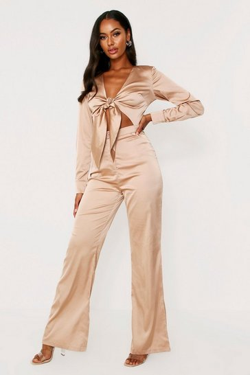 Womens Champagne Tie Front Satin Jumpsuit