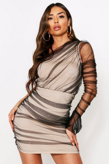 Black One Shoulder Mesh Dress