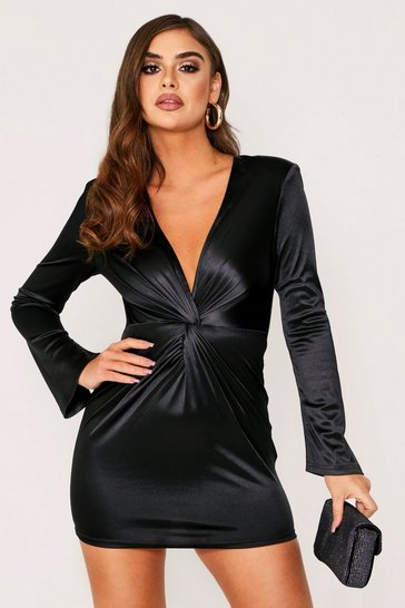 Womens Black Flared Sleeve Plunge Dress