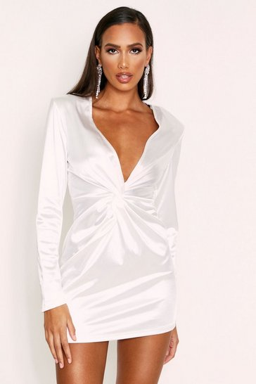 Womens White Flared Sleeve Plunge Dress