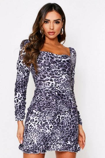 Animal Ruched Dress