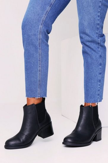 Womens Black PU Feature Elastic Chelsea Boot