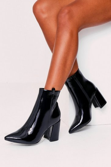 Womens Black Cowboy Ankle Boots