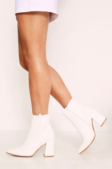 Womens White Cowboy Ankle Boots