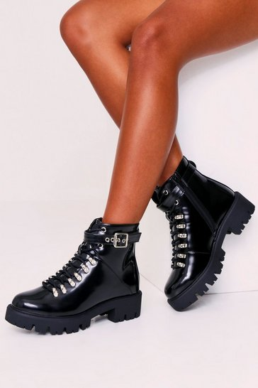 Womens Black High Shine Hiker Boots