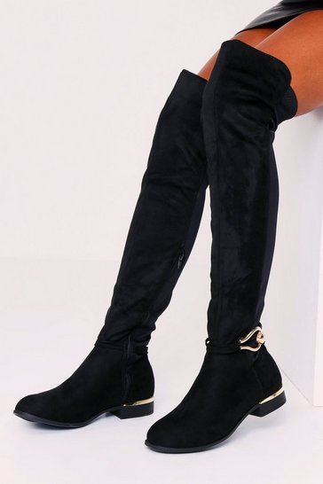 Womens Black PU Oval Trim Over The Knee Boot