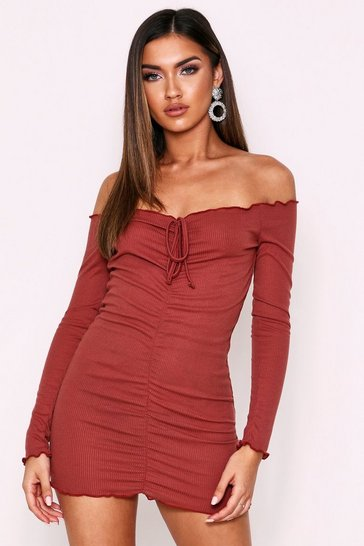 Terracotta Lettuce Hem Ruched Front Ribbed Dress