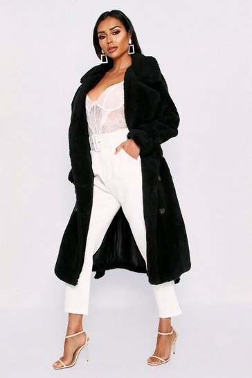 Womens Black Teddy Fur Double Breasted Belted Coat