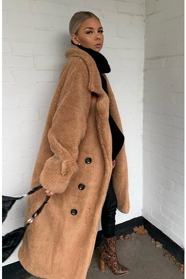 Womens Camel Teddy Fur Double Breasted Belted Coat