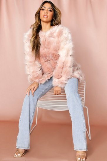 Womens Blush Faux Fur Panelled Coat