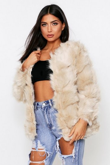 Cream Faux Fur Panelled Coat