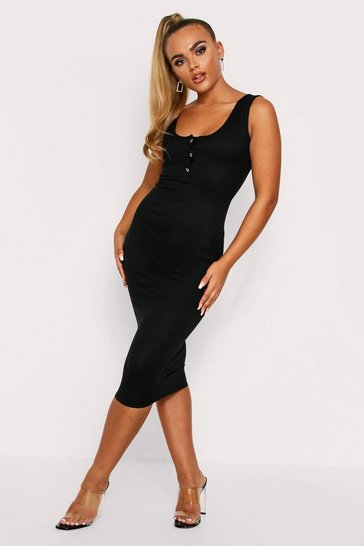 Womens Black Popper front ribbed midaxi dress