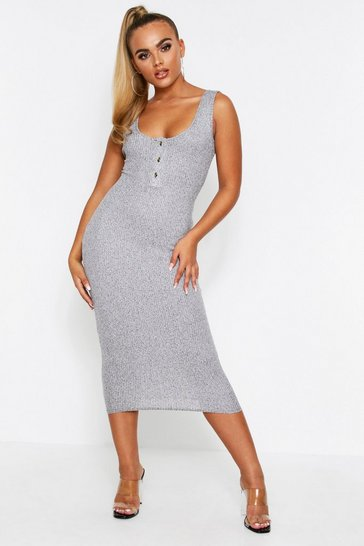 Womens Grey marl Popper front ribbed midaxi dress