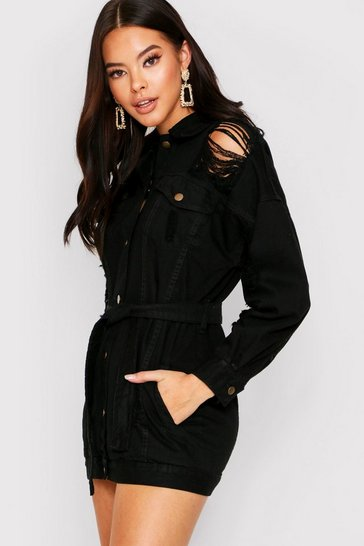 Womens Black Distressed belted shirt dress