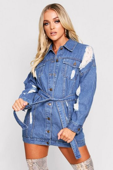 Womens Mid wash Distressed belted shirt dress