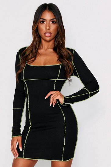 Womens Black contrast seam ribbed bodycon