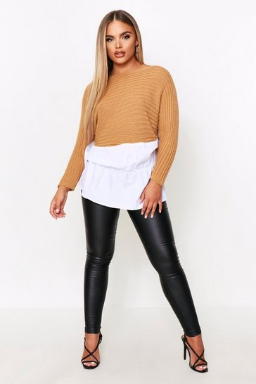 Stone Shirt Overlay Knitted Top