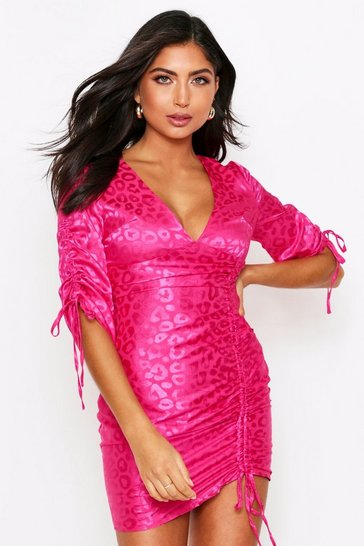 Fushia Leopard Satin Ruched Front Dress