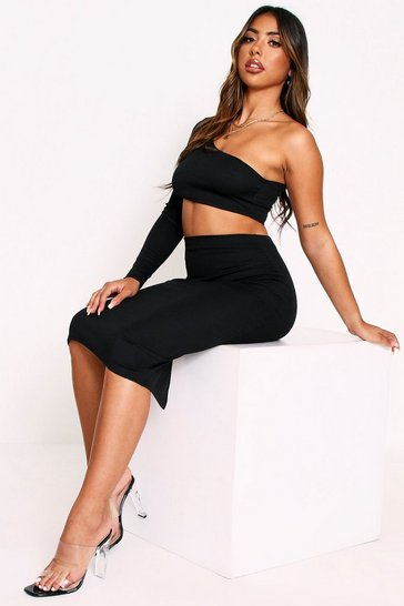 Black One Shoulder Midi Skirt Ribbed Co-Ord
