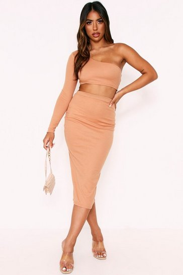 Womens Camel One Shoulder Midi Skirt Ribbed Co-Ord