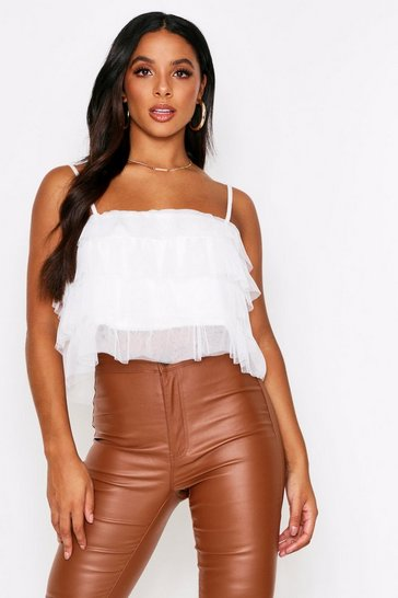 Womens White Mesh Layered Crop Top
