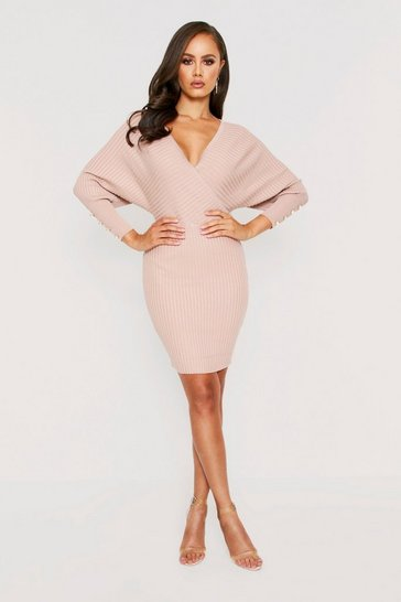 Beige Batwing Button Detail Jumper Dress