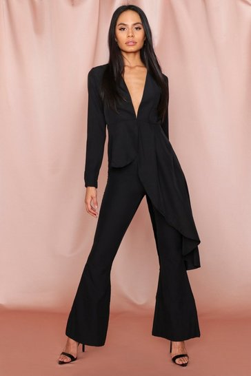 Womens Black Wide Leg Trousers