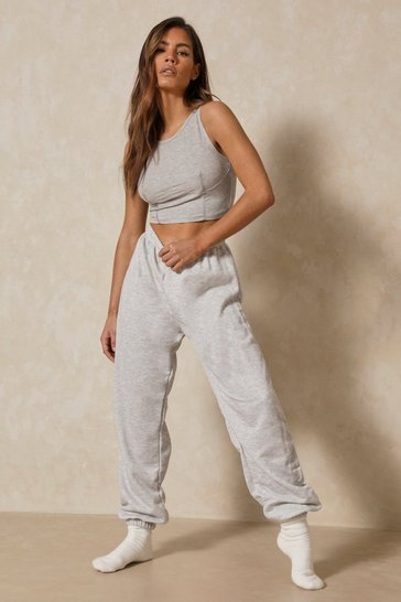 Grey Oversized Elasticated Loopback Jogger
