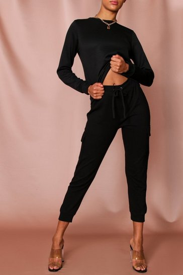 Womens Black Loopback Sweat Puff Sleeve