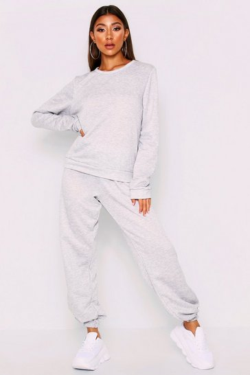 Womens Grey Loopback Sweat Puff Sleeve
