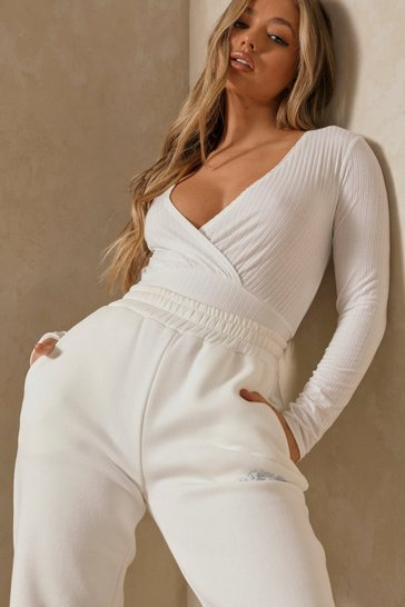 Cream Soft Rib Wrap Crop Top