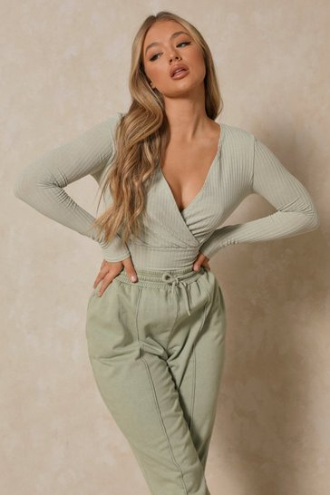 Sage Soft Rib Wrap Crop Top