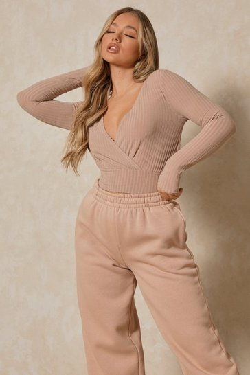 Stone Soft Rib Wrap Crop Top