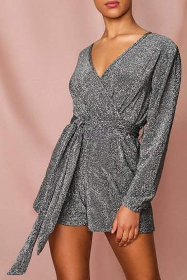 Silver Glitter Wrap Playsuit