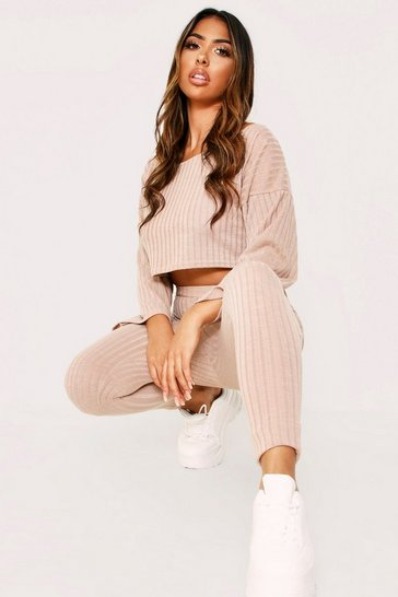 Womens Stone Slash Neck Wide Sleeve& Legging Lounge Set