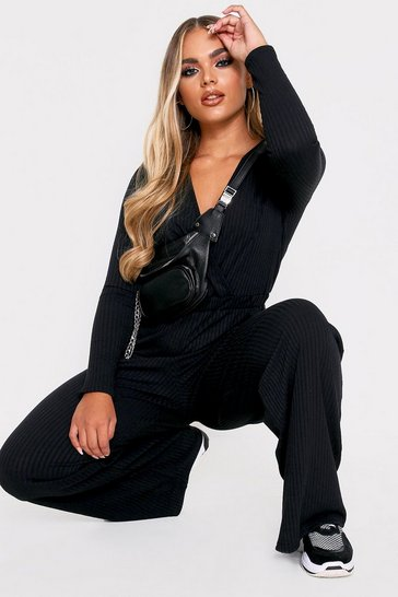 Womens Black Wide Leg Wrap Rib Jumpsuit