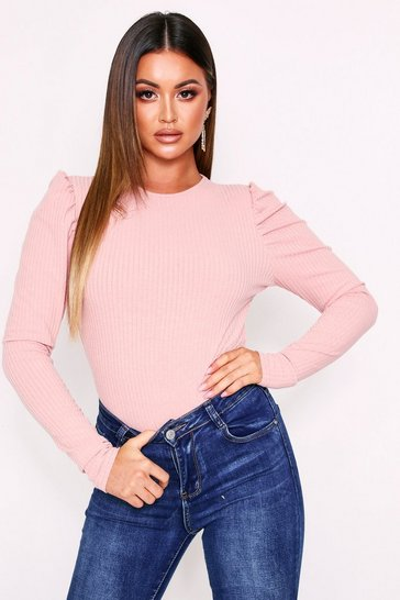 Womens Blush Long Sleeve Puff Sleeve Body