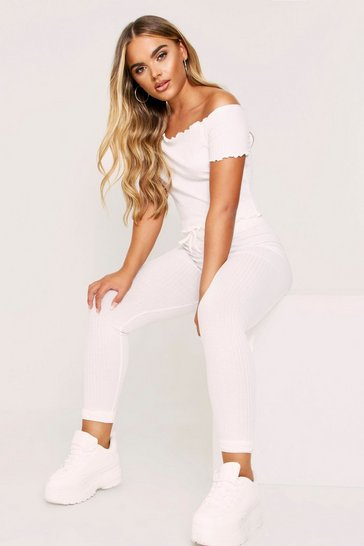 Womens Cream Lounge Set Rib With Joggers & Off The Shoulder Top