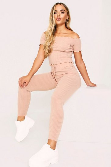 Womens Stone Lounge Set Rib With Joggers & Off The Shoulder Top