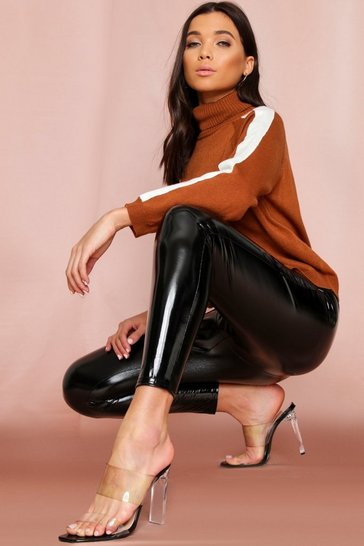 Womens Black High Waist Vinyl Legging