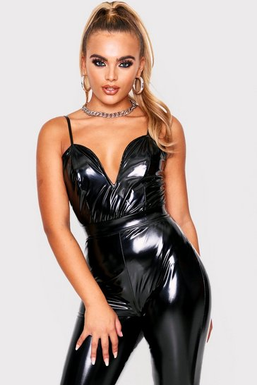 Womens Black Plunge Vinyl Bodysuit
