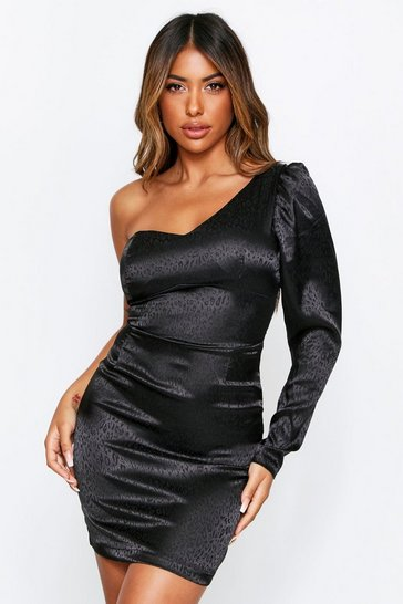 Black Satin Jacquard Puff Sleeve One Shoulder Dress