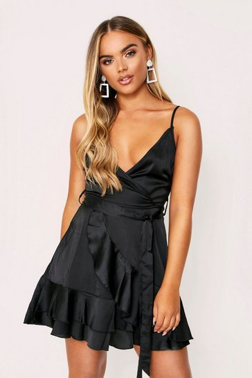 Womens Black Satin Ruffle Wrap Dress