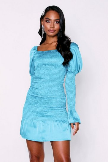 Womens Teal Long Sleeve Shirred Mini Satin Dress
